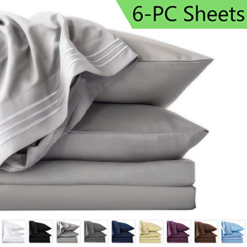 LIANLAM Queen 6 Piece Bed Sheets Set - Super Soft Brushed Microfiber 1800 Thread Count - Breathable Luxury Egyptian Sheets Deep Pocket - Wrinkle and Hypoallergenic(Queen, Grey) (Sheets Of Set)