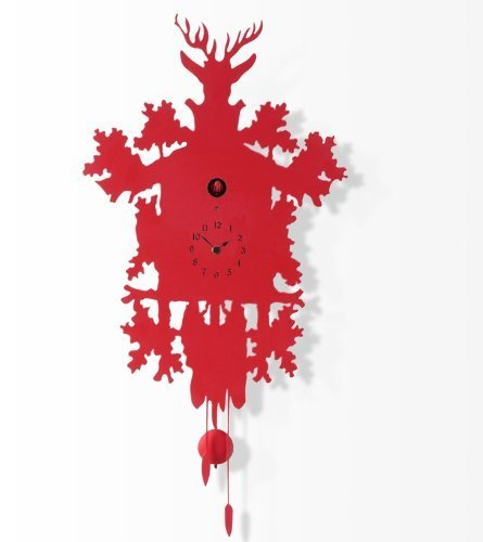 Diamantini and Domeniconi Cuckoo Wall Clock (Red, Large - With ...