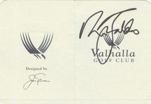 Ryder Cup Valhalla - Nick Faldo Autographed Valhalla Golf Club Scorecard - 2008 Ryder Cup Captain