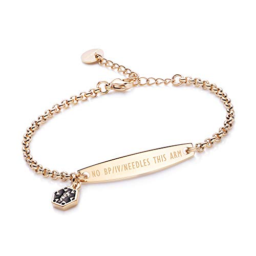 linnalove-Pre-Engraved NO BP/IV/Needles This ARM Gold Simple Rolo Chain Medical id Bracelet for Women & Girl