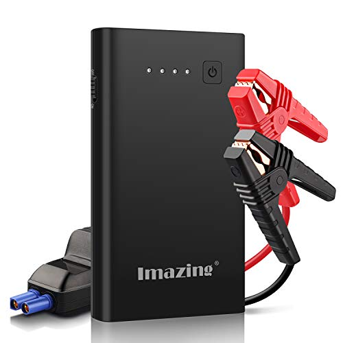 Imazing Car Jump Starter 1000A Peak 8000mAh with Type-C Port(Up to 7.0L Gas or 5.5L Diesel Engine), 12V Portable Power Pack Auto Battery Booster with LCD Display Jumper Cables, QC 3.0 and LED Light