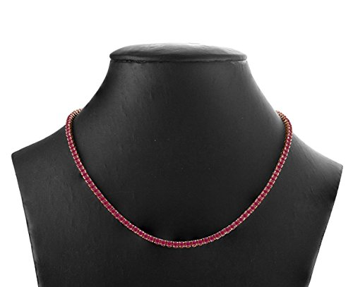"""16 Carat (ctw) 925 Sterling Silver Natural Real Round Cut Red Ruby Tennis Necklace For Women 16"""" from Rare Earth Diamond Jewellery"""