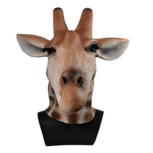 Realistic Giraffe Head Mask Latex Animal Costume Party Accessory Adult -