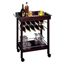 Bar Cart, Mirror Top, wine rack by Winsome