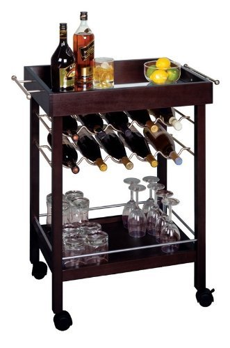 Bar Cart, Mirror Top, wine rack by Winsome by Winsome