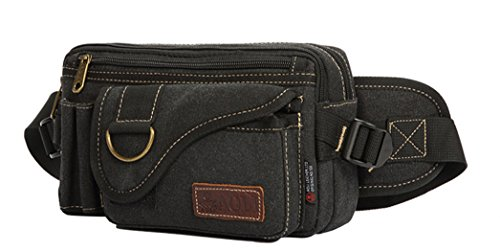 JiaYou Unisex Sports Waist Bag Fanny Hip Pack Bum Bag(Black A,3L) by JiaYou
