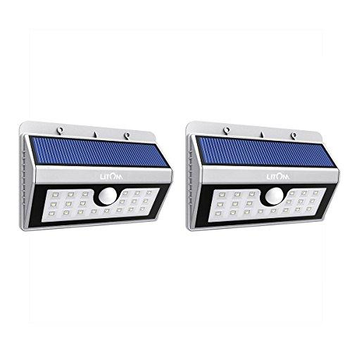 Litom Solarleuchten, Solar Wandleuchte,Solar Außenleuchte 20 helle LED drahtlose Solarleuchte fürGarten, Zaun,...