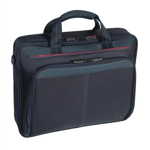 Targus Classic Clamshell Laptop Business Carry Bag with Protetive Sleeve for 16-Inch Laptop, Black/Red Accents (CN31US)