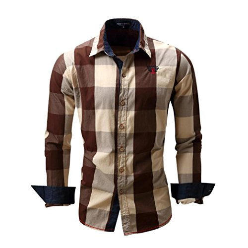 Aurorax Mens Button Down Casual Long Sleeve Dress Shirt, Cotton Top Regular Fit Dress Shirt Classic for Casual, Party, Beach,Work,Business (Coffee, ()