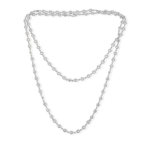 Platinum Plated Sterling Silver Cubic Zirconia Necklace by Caratina