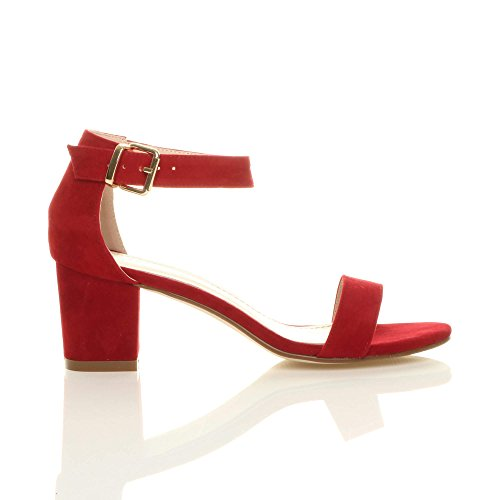 Heel Sandals Strappy Size Ajvani Women Suede Block Mid Red qxn7Zt