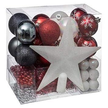 da25a3818 Lote decoración de Navidad - Kit 44 piezas para la decoración del árbol:  Guirnaldas, Bolas y Estrella - Color: Blanco y Dorado: Amazon.es: Hogar