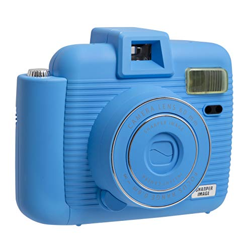 SHARPER IMAGE Instant Camera with Flash and 5 Lighting Modes, Compatible with Instant Mini Film, Prints Photos in Seconds, Capture Memories Indoors or Outdoors! – Blue