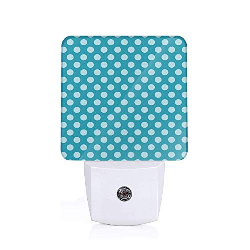 Colorful Plug in Night,Retro Style Pattern with Polka Dots Soft High Seas Colored Pale Blue Spots Blots,Auto Sensor LED Dusk to Dawn Night Light Plug in Indoor for Childs -