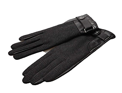 CWJ Leather Gloves Men Winter Warm Patchwork Gloves,Black,Large by CWJ