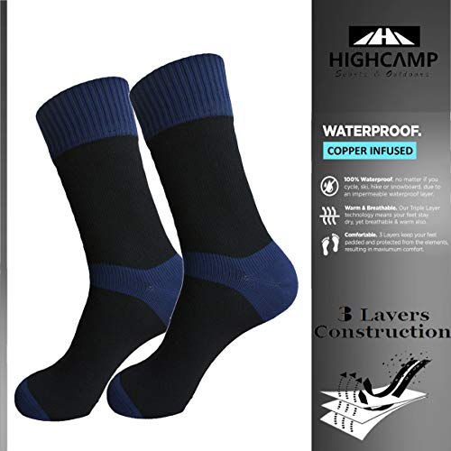 HIGHCAMP [SGS Certified] Best Valued Waterproof Socks for Men & Women- Coolmax/Copper Cushion Crew Cycling, Running, Hiking Boots Socks (Copper - Navy, L)