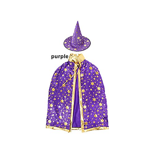JUSTMODE Children Costumes Stars Style for Halloween and Christmas Sorcerer/Halloween Cloak with Hat Purple -