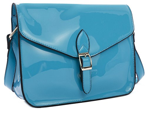 Womens Messenger Leather Blue 1 Patent Vegan Big Design Shoulder Bag Glossy Shop Fashion Sky Handbag 8wqwxRSg