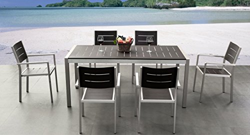 Outdoor Patio Wicker Furniture New Aluminum Resin 7-Piece Square Dining Table & Chairs Set