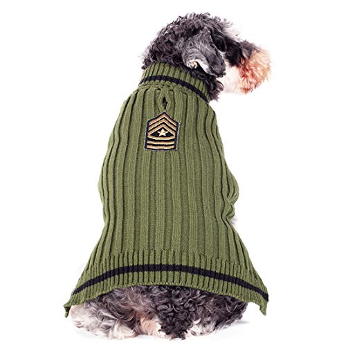 kyeese Dog Sweater Turtleneck with Leash Hole Dogs Pullover Sweaters Stretchy Knitwear US Army Warm Pet Clothes for Fall…