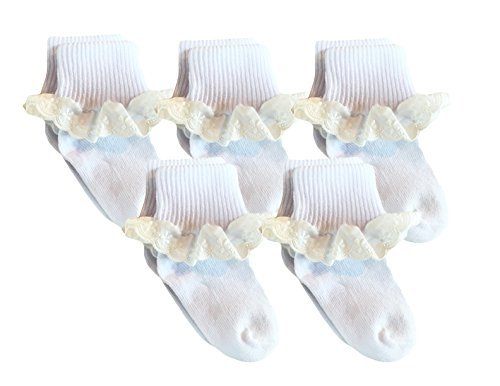 Country Kids Little Girls' Cotton Turncuff Socks with Special Occasion Dressy Eyelet Lace, Pack of 5, Fits 1-2 years (shoe size 3-7.5), White
