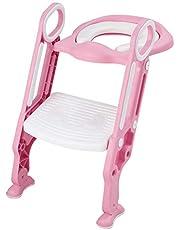 COSTWAY Zindelijkheidstraining wc-bril, met opstapje ladder, verstelbare opvouwbare peuter toilet training stoel stoel met veilige handgrepen, zachte gewatteerde zitting, antislip brede opstap, antislip-pads, voor jongens en meisjes Kids Kinderen Baby