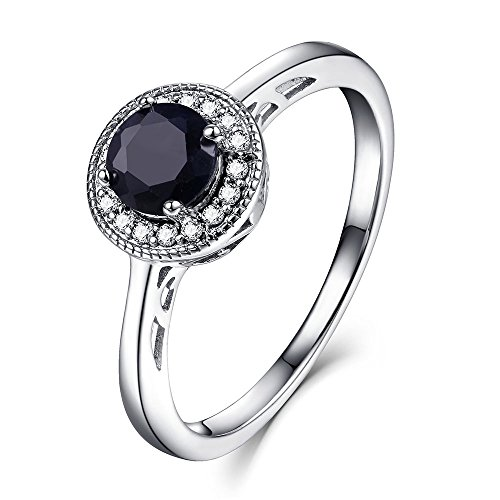 - EL UNO Sterling Silver Round Cut Solitaire Black Sapphire Gemstone Promise Rings with Halo CZ for Women (Round Cut, 9)