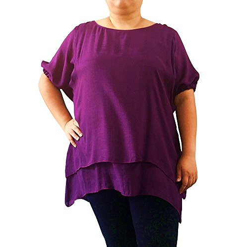 Blousemate Plus SZ 2XL 3XL 5XL Top Double Layer Blouse Flowing Dolman Band Cuffed Sleeve (2XL, Purple) (Tranquil Tank Dress)