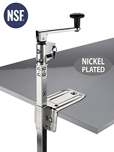Commercial Opener - BOJ Can Opener NSF Certified Commercial Grade Manual with Angled Bar (Nickel Plated) Medium Duty Table Mount for Kitchen Restaurant with 20