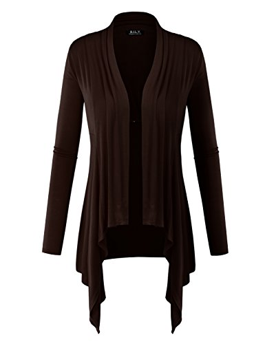 BILY Women Long Sleeve Drape Open Light weight Jersey Cardigan Coffee