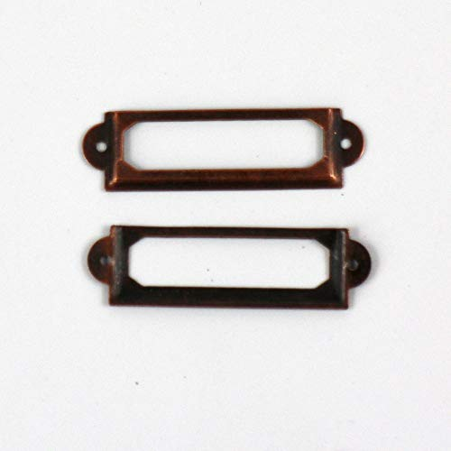 DIVASO Shelf Label Holder - 30pcs Antique Copper/Bronze Iron Label Frame Card Holder Scrapbooking Accessories 60x17mm with Brads
