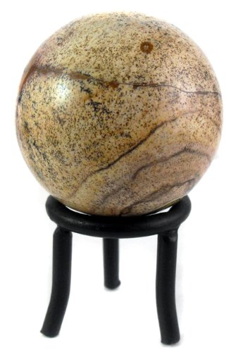 Universal Energy Sphere with Black Iron Stand (Picture Jasper Time Crystal Ball)