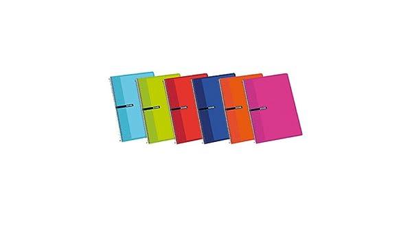 Enri 100430064 - Pack de 5 cuadernos con espiral simple, Liso, tapas duras, colores surtidos: Amazon.es: Oficina y papelería