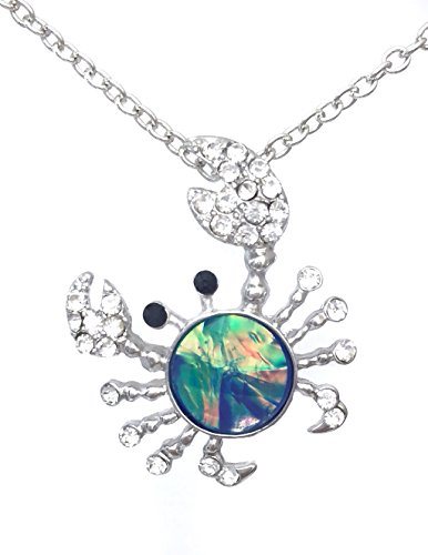 - Gypsy Jewels Iridescent Foil Crab Rhinestone Silver Tone Small Dainty Necklace (Blue)