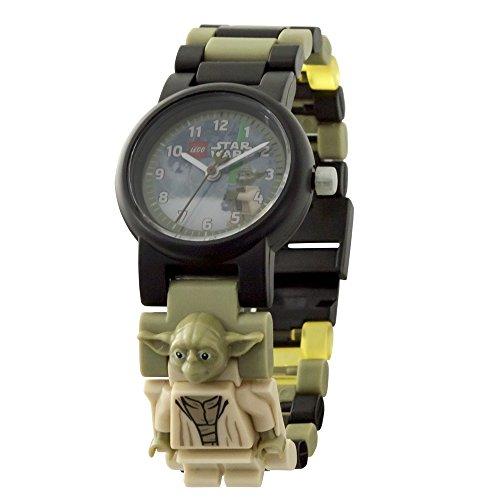LEGO Star Wars 8021032 The Last Jedi Yoda Kids Minifigure Link Buildable Watch | green/black| plastic | 28mm case diameter| analogue quartz | boy girl | (Yoda Watch)