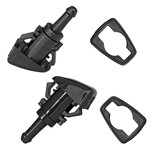 (Front Windshield Washer Nozzles Kit Perfect Replacement Single Hole Shaped Mist Spray Wiper with the Rubber Gasket Fit for Dodge/Ram/Jeep/Chrysler(Pack of 2))