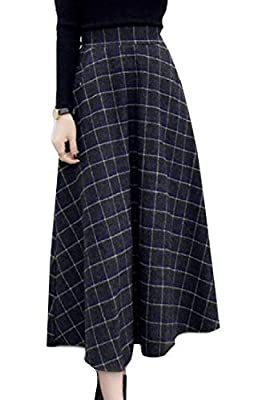 UNINUKOO Unko Women's Thicken High Waist Belted Wool Blend Check Plaid Midi Skirt