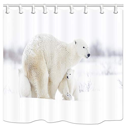 KOTOM Animal Decor Shower Curtain, Polar Bear Mother with Two Cubs Walking on Tundra, Polyester Fabric Bath Curtains with Hooks 69W X 70L Inches