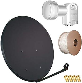HD Satélite (Antena Parabólica 100 cm espejo + 20 m Cable + ...