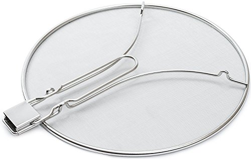 Cooking Pan Covers: Large Stainless Steel Splatter Screens for Frying Pan with Mesh Cover and Folding Handle - Heavy Duty Round Splash Guard Cooking, Grease Splatter Guard for Stove Top – 13 Inch