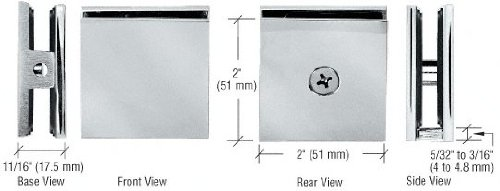 Panel Glass Clamps (CRL Brushed Nickel Square Style Hole-in-Glass Fixed Panel U-Clamp)