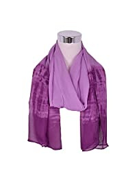 Women's Fashion Purple Chiffon Scarf Large Beautiful Patterns Shawl