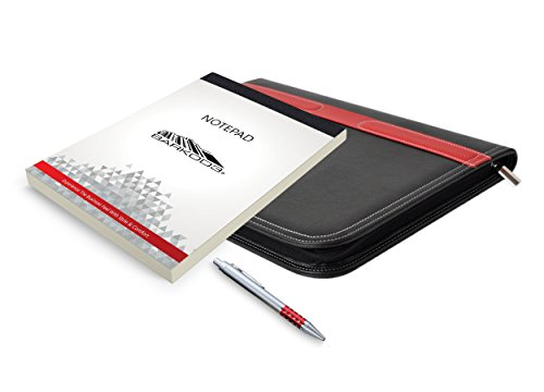 Portfolio - 3 Piece Bundle, Best Buy Gift, New Black/Red, Executive - Leather Binder Case, Tools, For The Interview, The Job, Financial Management, Office, Documents, Best - Travel Document Organizer.
