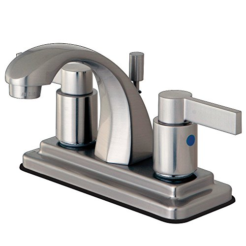 Kingston Brass KB4648NDL 3-7/8-Inch in Spout Reach NuvoFusion 4-Inch Centerset Euro High Rise Spout Lavatory Faucet with Brass/ABS Pop-Up, Brushed ()