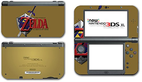 Legend of Zelda Link Ocarina of Time Gold Logo Master Sword Hylian Shield Video Game Vinyl Decal Skin Sticker Cover for the New Nintendo 3DS XL LL 2015 System Console (Legend Of Zelda Ocarina Of Time Hylian Shield)