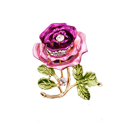 Botrong Crystal Red Rose Pins Rhinestone Flower Brooch Women Clothing Accessories (Purple)