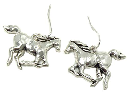 4EverSparkles Galloping Horse Earrings B7 Running Silver Tone