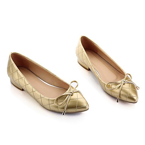 Allhqfashion Tacón on Zapatos Puntera Mujer Charol nbsp;de nbsp;Tacón Bajo Punta Dorado en Slip InrtIq