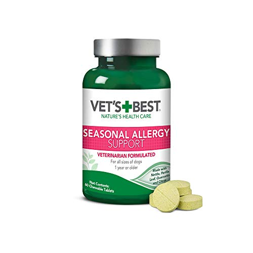 Symptoms 60 Tablets - Vet's Best Seasonal Allergy Relief | Dog Allergy Supplement | Relief from Dry or Itchy Skin | 60 Chewable Tablets