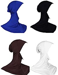GladThink Womens Muslim Mini Full Cover Hijab Caps Islamic Scarf 4 Pieces Set No.8